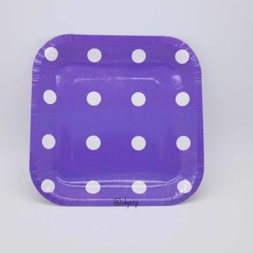 Square Paper Plate-Polkadot Dark Purple image & Paper Plate
