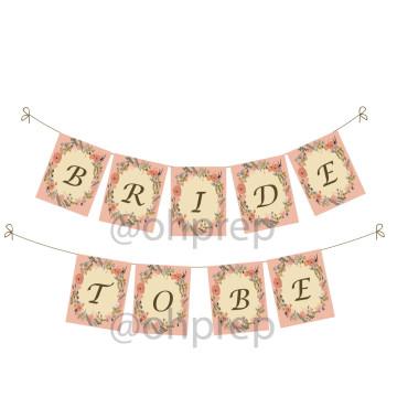 Bridal Shower Banner Vintage Garden Pastel image
