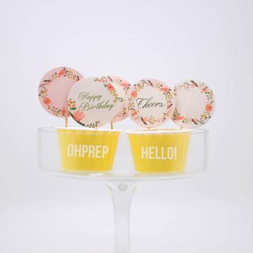 Cupcake Topper Vintage Garden Pastel image