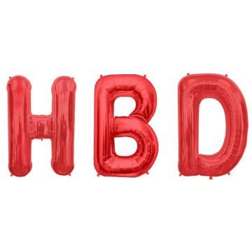 HBD Red Alphabet Balloon image