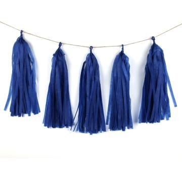 Paper Tassel Garland Navy Blue image