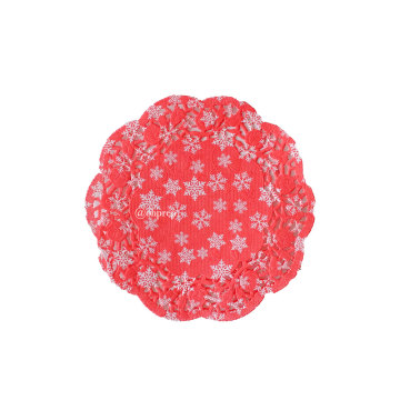 "Christmas Doilies 4.5"" Red Snowflakes image"