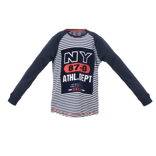 T-SHIRT STRIPE LONG NAVY OSELLA KIDS NY 87-0 ATHL DEPT Navy