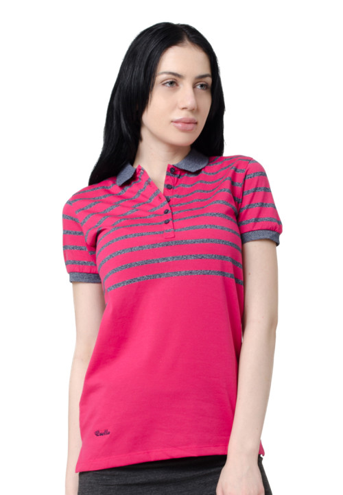 Osella Woman Osella Polo Shirt Stripe Ladies Pink
