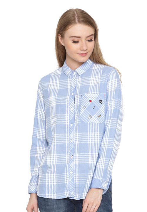 Osella Woman Shirt Long Sleeve  Blue White Check Idm Gjh 1922 Blue