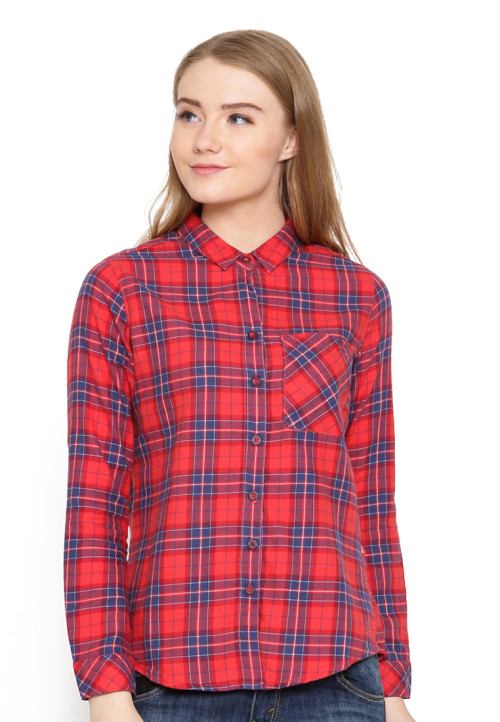 Osella Woman Shirt Long Sleeve  Torino 22644 Red Orange Check Red