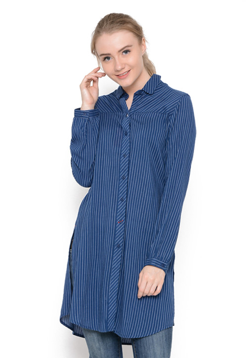 Osella Woman Shirt  Long Sleeve Cravin 22886B Blue Stripe