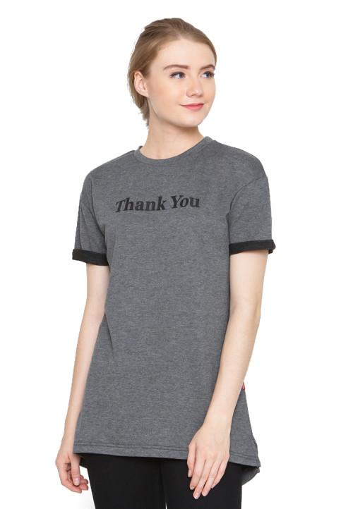 Osella Woman Tshirt Short Sleeve Sleeve Terry Print Thank You Black