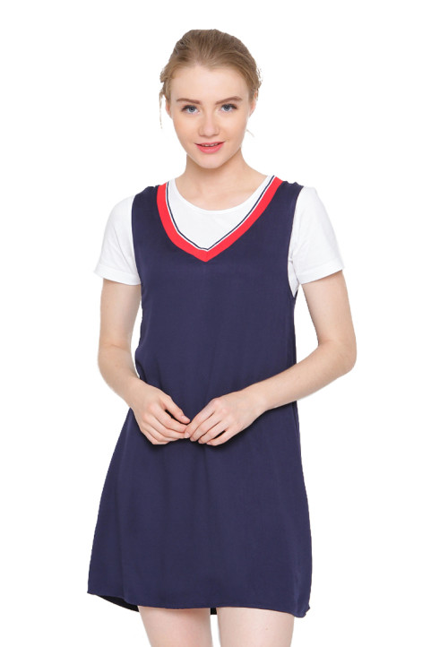 Osella Woman Dress Navy With Rib Navy