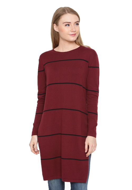Osella Woman Dress Long Kniting Marron Black Stripe Burgundy
