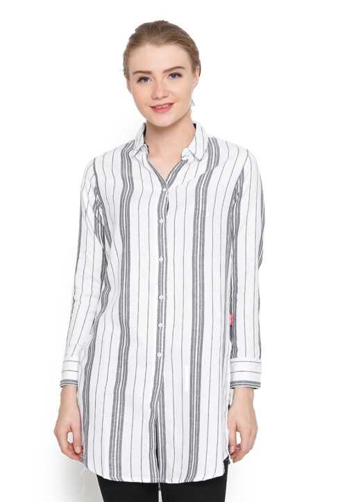 Osella Woman Shirt  Long Sleeve Heringbone 01028 Black White Strip
