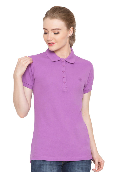 Osella Woman Polo Shirt Solid Plum
