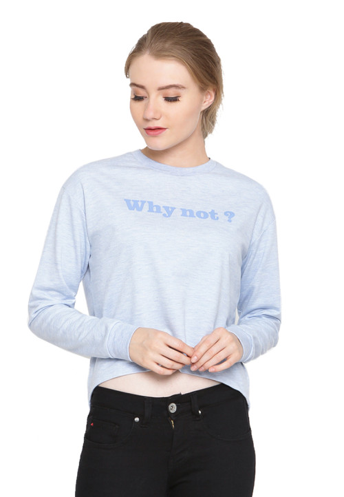 Osella Woman Tshirt Long Sleeve Sleeve Terry Print Why Not Baby Blue