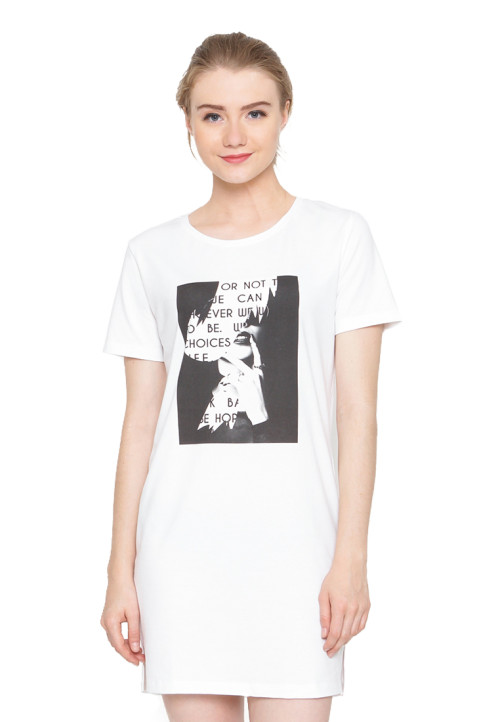 Osella Woman Tshirt Short Sleeve Sleeve Tunic Print Or Not White
