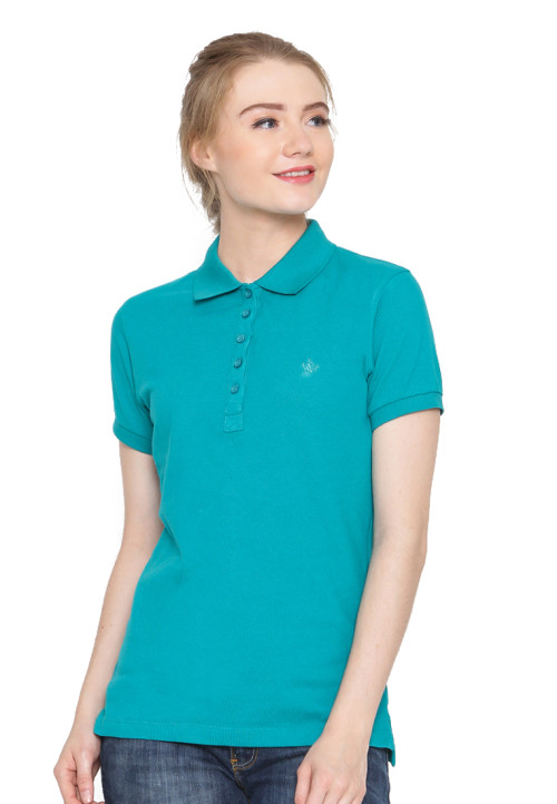 Osella Woman Polo Shirt Solid Teal Green