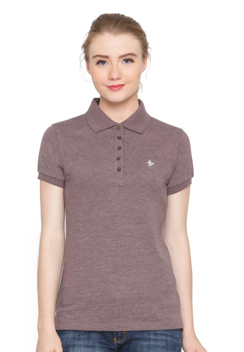 Osella Woman Polo Shirt Solid Smoke Brown