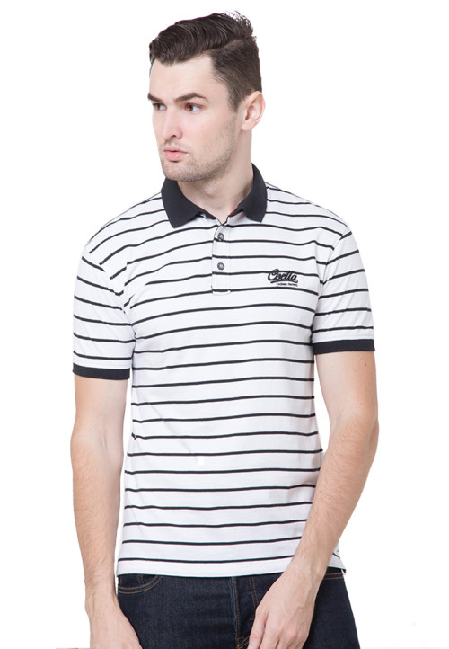 Osella Man Polo Shirt Man Stripe White - Black
