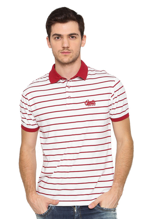 Osella Man Polo Shirt Man Stripe White - Red