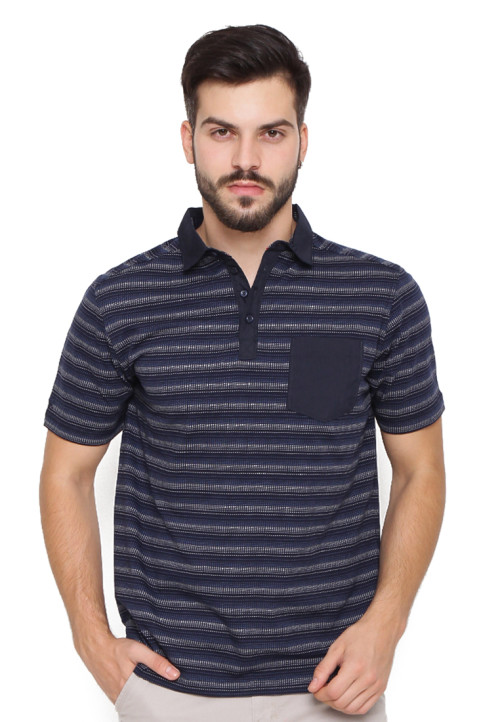 Arnett POLO SHIRT STRIPE BLUE NAVY Navy