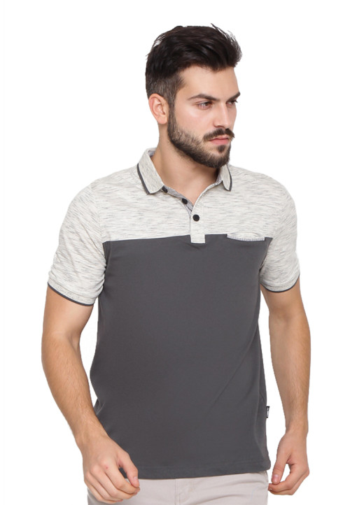 POLO SHIRT ENGINE SLUB GREY + DARK GREEN