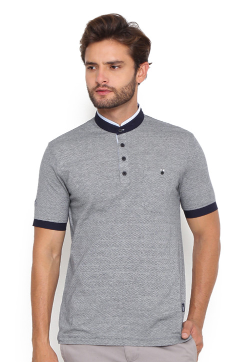Arnett POLO SHIRT KRAGH SANGHAI BLUE & NAVY Misty 71