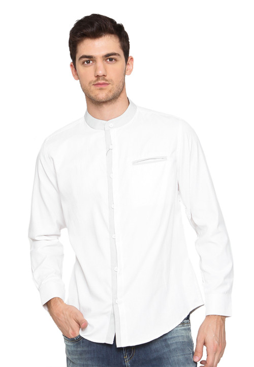Arnett SHIRT LONG WHITE DOBBY SALUR ABU White