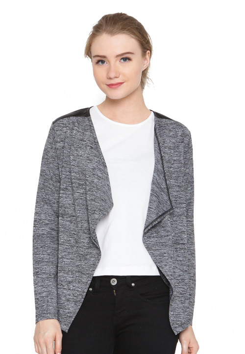 Osella Woman Jacket Fashion Cardigan With Combo Suede Black