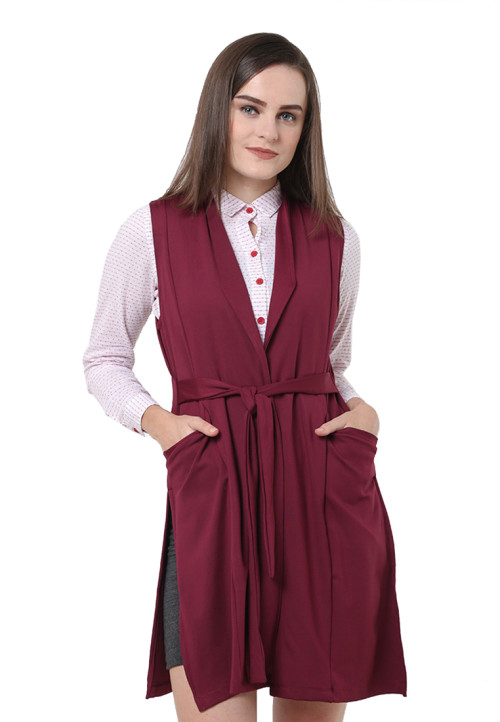 Osella Woman Cardigan Sleveeless Scuba Purple
