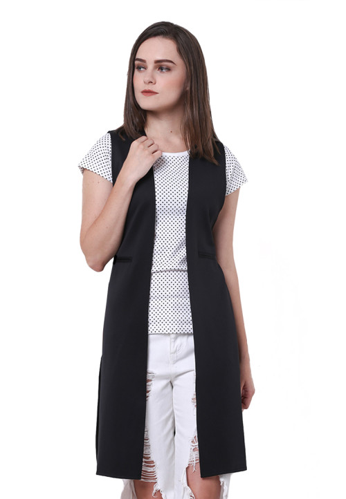 Osella Woman Cardigan Sleveeless Scuba Black