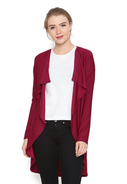 Osella Woman Cardigan Long Sleeve Dobby Red
