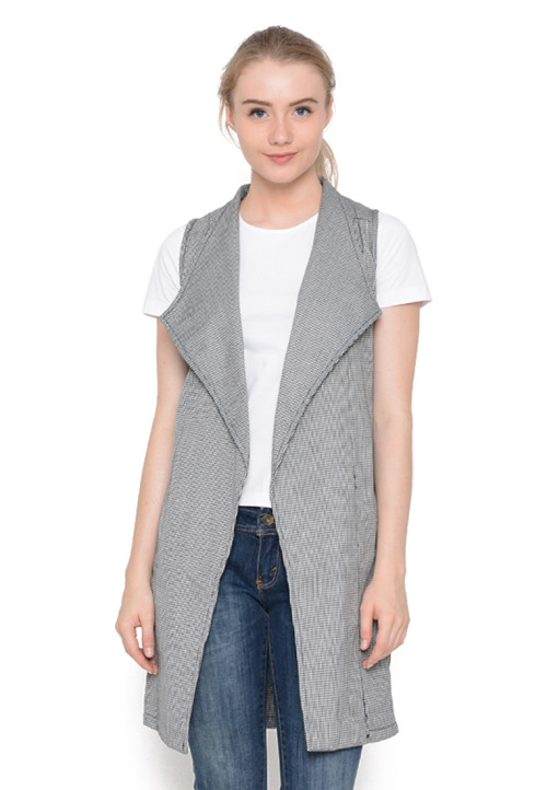 Osella Woman Cardigan Jacquard Sleeveless Aling Black