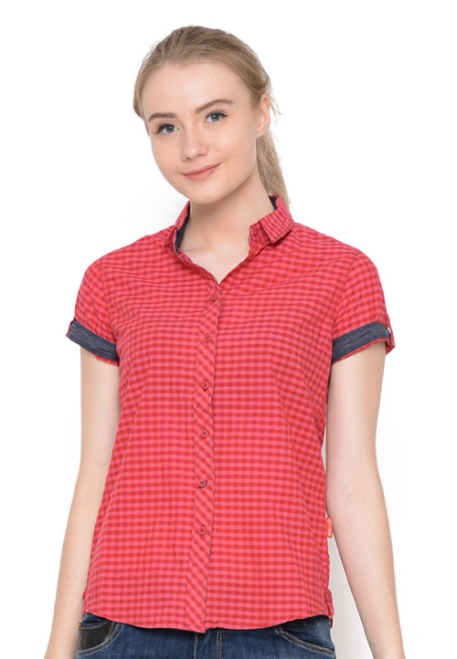Osella Woman Shirt Short Sleeve Small Check Red Bt Red