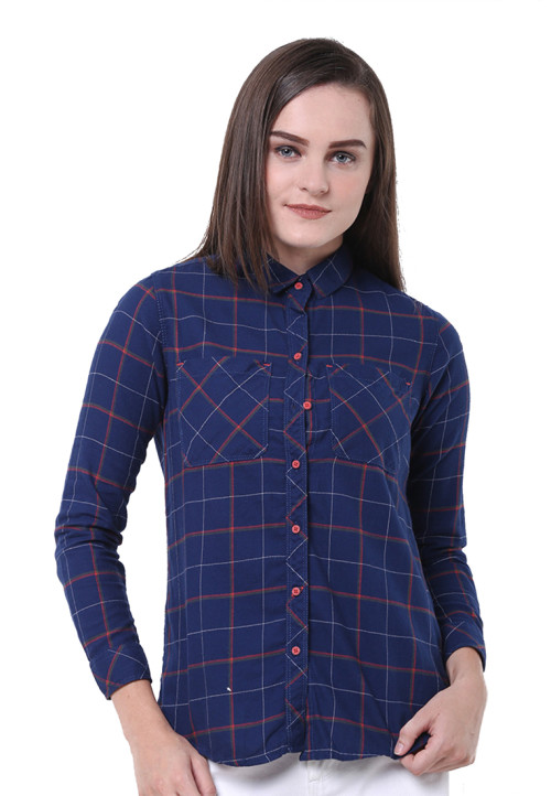 Osella Woman Shirt Long Sleeve  Torino 22888 Mst Navy Check Blue