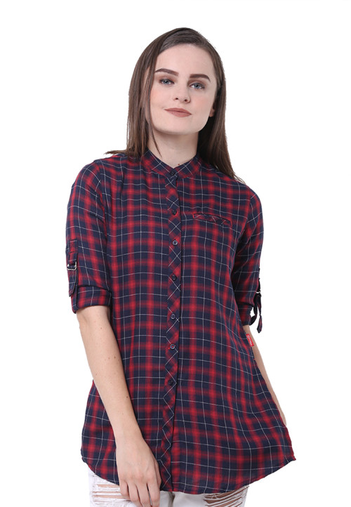 Osella Woman Shirt Long Sleeve Rc 23 Red Check Red