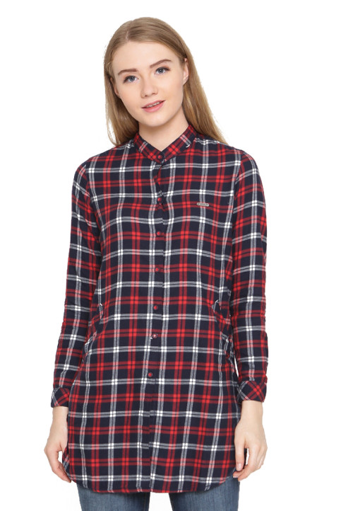 Osella Woman Shirt  Long Sleeve Torino 22872B Navy White Red Check Navy