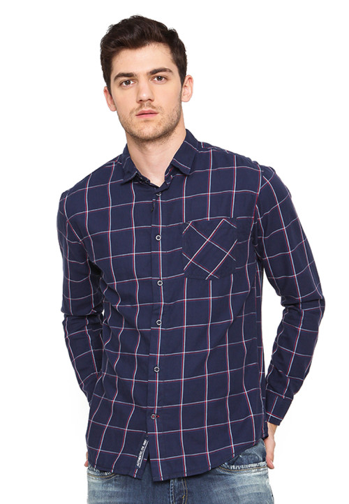 Osella Man Shirt Long Sleeve Twill Flanell Navy