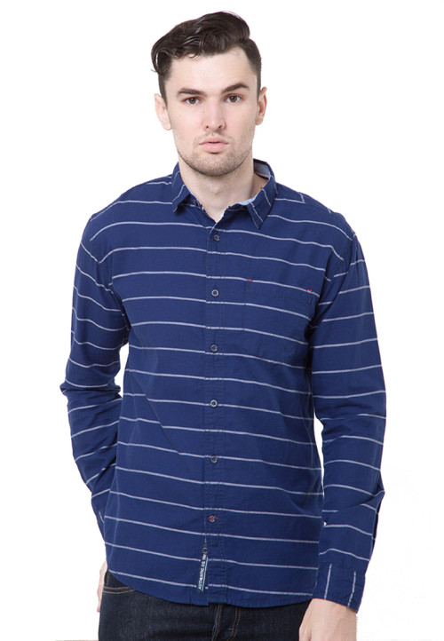 Osella Man Shirt Long Sleeve Wht St Bt Navy