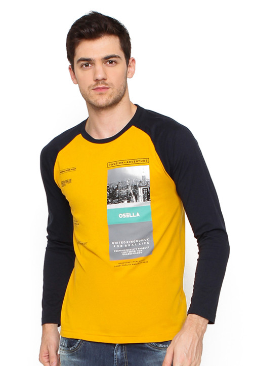 Osella Man T-Shirt Print Passion Adventure Mustard Golden