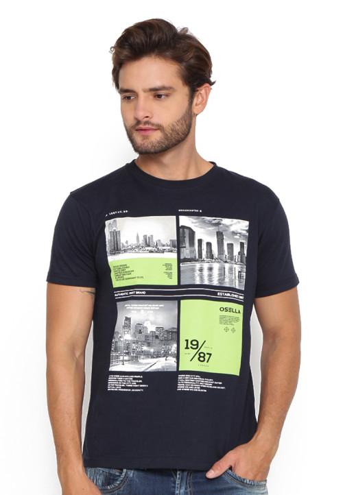 Osella Man T-Shirt Print Broadcaster 19/87 Indigo