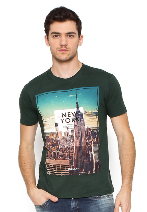 Osella Man T-Shirt Print Newyork The Big City Teal Green