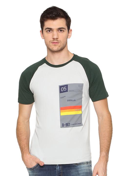 Osella Man T-Shirt Print 05 Osella Raglan Grey - Hijau Grey