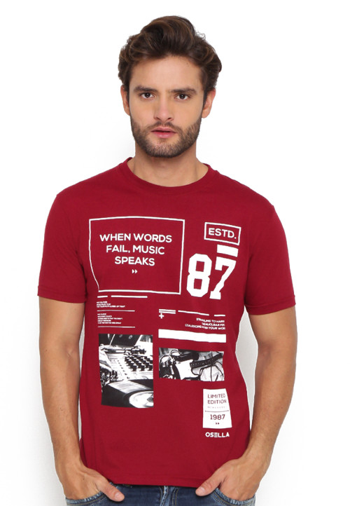 Osella Man T-Shirt Print When Words Fail, Music Speak Red