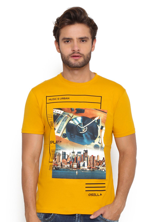 Osella Man T-Shirt Print Run The Music Must Gold