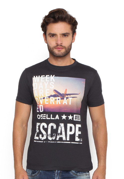 Osella Man T-Shirt Print Escape Dark Grey Grey