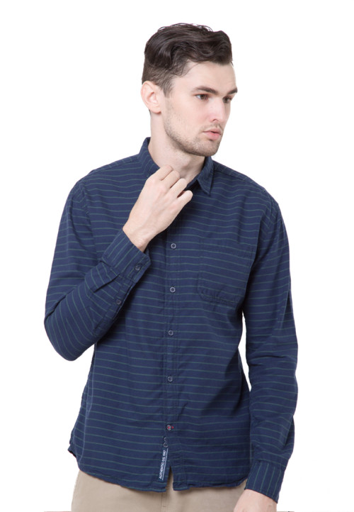 Osella Man Shirt Long Sleeve Green Stripe Navy