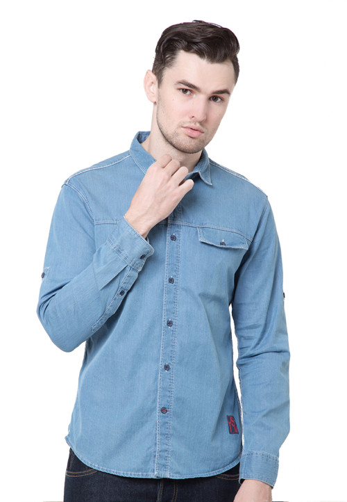 Osella Man Shirt Long Sleeve Denim Navy