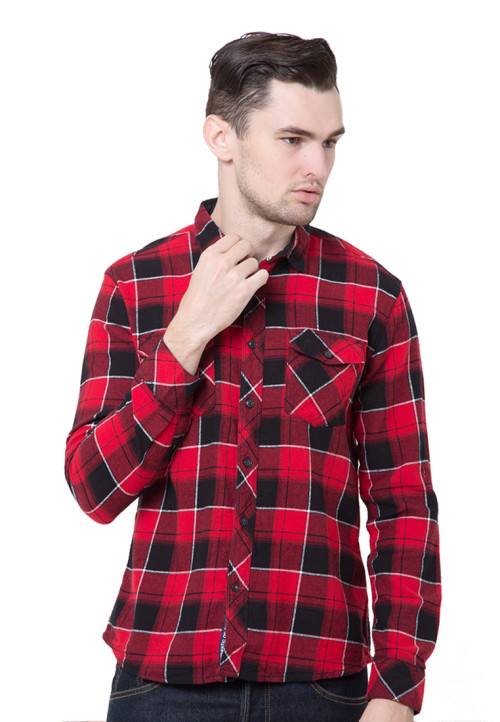 Osella Man Shirt Long Sleev Twill Flanel Blk.Red