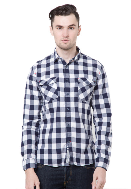 Osella Man Shirt Long Sleeve Twill Check W.Navy