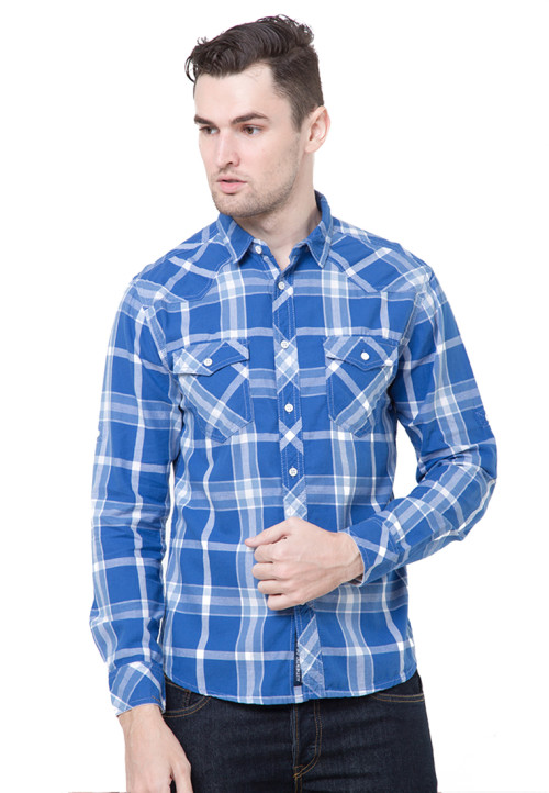 Osella Man Shirt Long Sleeve Twill Flanel W.Blue