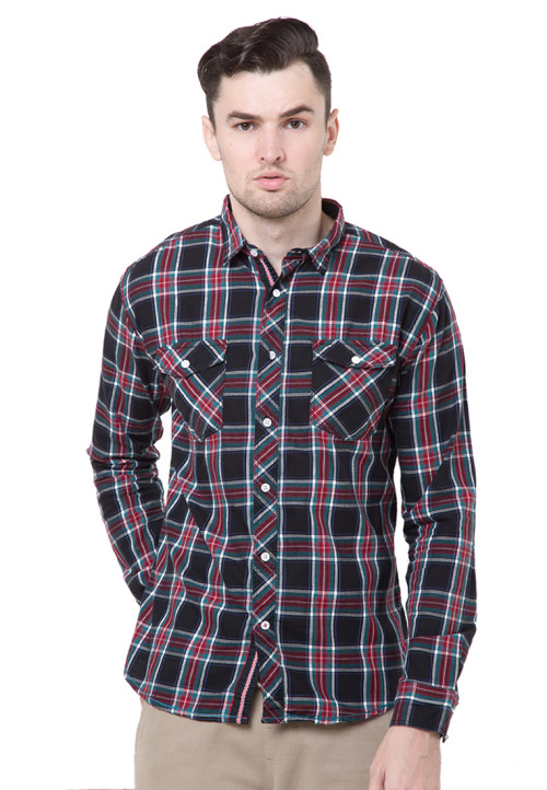 Osella Man Shirt Long Sleev Twill Flanel R.Black